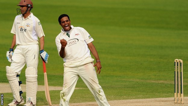 Jigar Naik celebrates a wicket