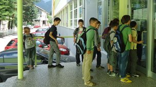 Pupils entering Konjic first school