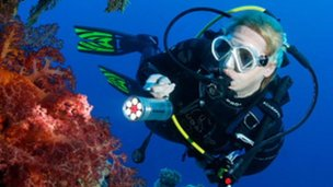 Rose Jones scuba diving