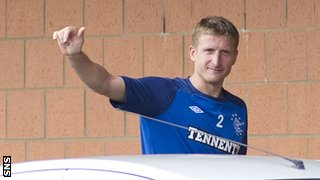 Goian arrives at Rangers training despite the prospect of Third Division football