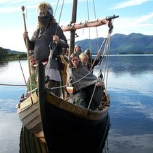 Vikings in longboat