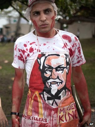 Activist protesting against KFC