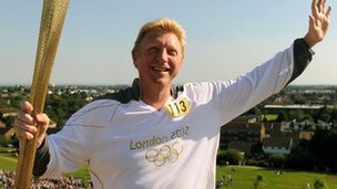 Former Wimbledon winner Boris Becker held the torch aloft at Northala Park in Northolt before the flame made its way to Ealing