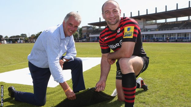 Saracens owner Nigel Wray and skipper Steve Bothwick at Allianz Park