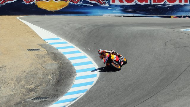 Casey Stoner heads down the iconic &#039;corkscrew&#039; in 2011