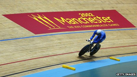 Chris Hoy at the National Cycling Centre during the 2002 Commonwealth Games in Manchester