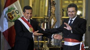 President Humala (left) with his new prime minister Juan Jimenez on 23 July