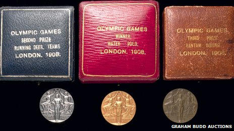 Gold, silver and bronze medals from the 1908 London Games