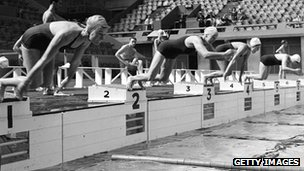 Women training at Wembley for the 1948 Olympics in London