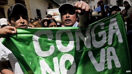 People slogans during a protest against US Conga mining project in Cajamarca on 9 July 2012