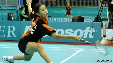Badminton player at Bolton Arena during the 2002 Commonwealth Games