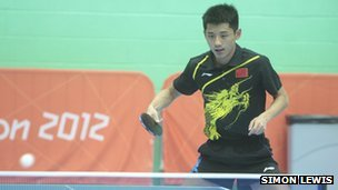 Zhang Jike in training at Leeds University