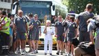 Diana Gould carrying the Olympic Flame on the Torch Relay leg between Brent and Barnet 