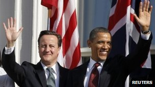 UK Prime Minister David Cameron and US President Barack Obama wave from the South Lawn of the White House 14 March 2012