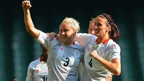Steph Houghton (left) celebrates her opening goal