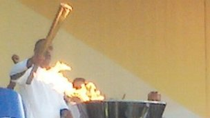 Daley Thompson lights Olympic cauldron, Alexandra Palace