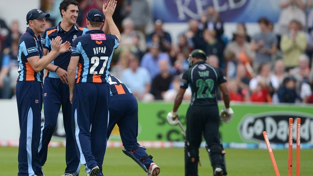 Yorkshire celebrate against Worcestershire