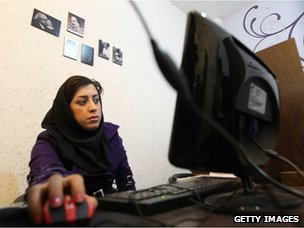 Woman at Tehran internet cafe
