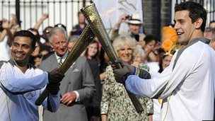 Prince Charles, Duchess of Cornwall and torch bearers