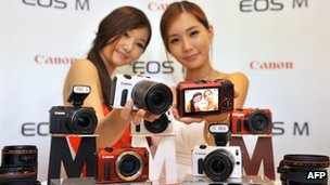Models holding latest Canon cameras