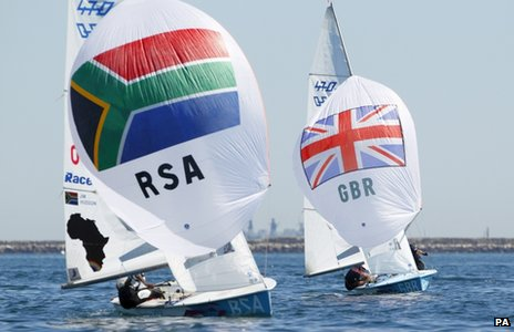 Great Britain&#039;s 470 Men sailors Luke Patience and Stuart Bithell in Portland Harbour, Dorset