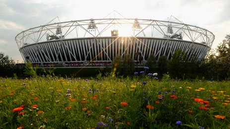 Olympic Stadium and flowers