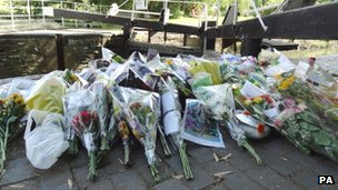 Tributes and flowers were left near Saltford Weir
