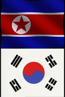 North Korea flag (top); South Korea flag (bottom)