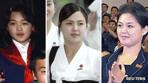 Composite photos of what is believed to be Ri Sol-ju at various events. From left: during an inter-Korean event in North Korea in 2003 and during an athletic event in South Korea in 2005. The third photo is a current photo from KCNA.