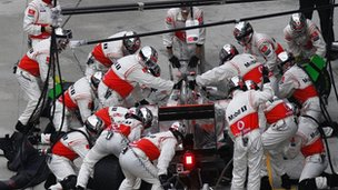 F1 car in pit-stop