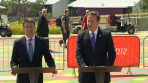 Lord Coe and Prime Minister David Cameron