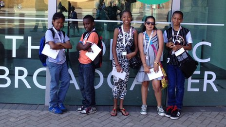School Reporters in front of BBC Television Centre