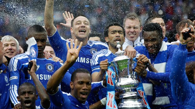 Chelsea celebrate last season&#039;s FA Cup win