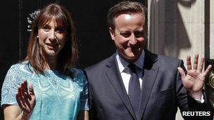 Samantha and David Cameron, earlier this week outside No 10