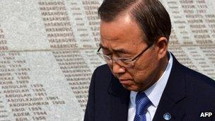 UN chief Ban Ki-moon at the Srebrenica memorial in Bosnia, 26 July