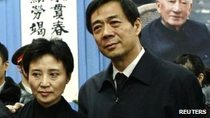 File picture of Bo Xilai (R) and his wife Gu Kailai in Beijing on 17 January 2007