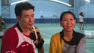 Badminton couple Alan Budikusuma (L) and Susi Susanti