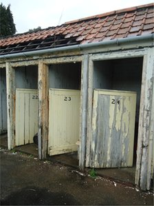 Changing rooms at the lido