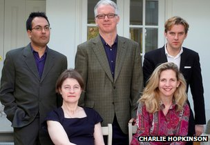 Booker judges 2012  (standing from left): Bharat Tandon, Peter Stothard, Dan Stevens (sitting) Dinah Birch, Amanda Foreman.