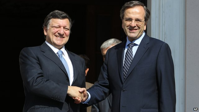 Jose Manuel Barroso with Antonis Samaras