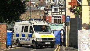 Police investigating the scene