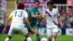Jacheol Koo, Nestor Vidrio and Bokyung Kim battle for possession