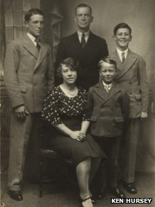 Brother Ernest, father Ernest, brother Ron, mother Bertha and Ken (front) before the tragedy (image supplied through Herefordshire Lore) 