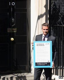 David Beckham outside Downing Street