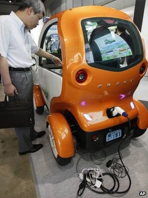 """Kobot mini"" single-seater electric vehicle displayed at the Eco Office Expo in Tokyo Thursday, July 12, 2012"