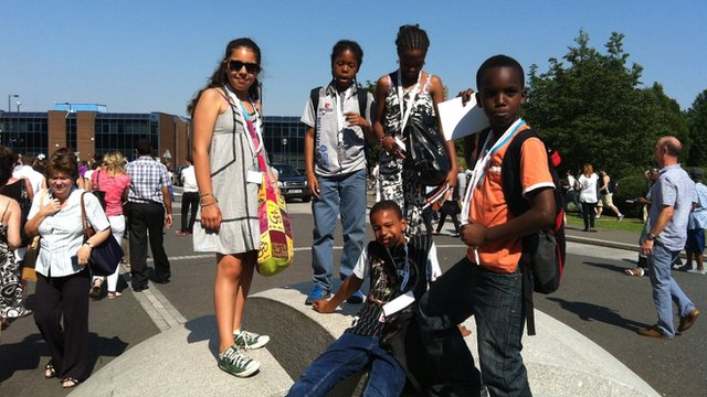 The team of School Reporters from Burlington Danes Academy at the torch relay in White City