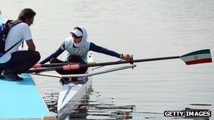 Iranian rower Solmaz Abbasi training at Eton Dorney