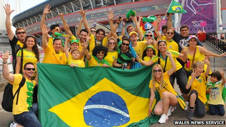 A carnival atmosphere, as Brazilian fans arrive at the Millennium Stadium