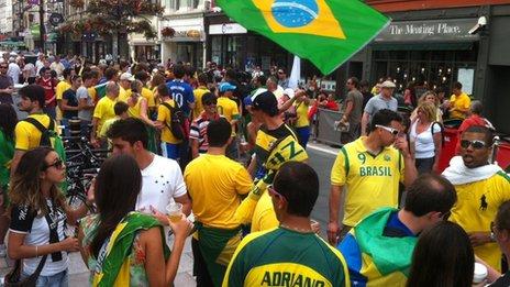 Brazilian fans in St Mary Street