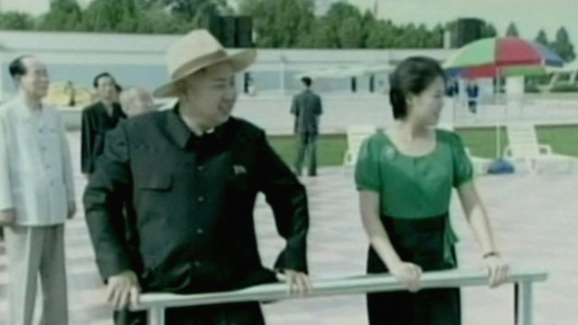 Kim Jong-un and Ri Sol-ju at the opening of an amusement park